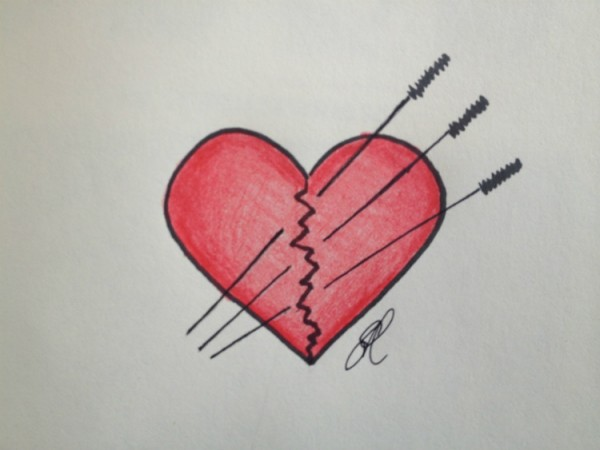 A line drawing of a heart with a jagged crack down the middle, held together with three acupuncture needles, in recognition of how acupuncture can help with a broken heart.